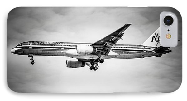 Amercian Airlines Airplane In Black And White Phone Case by Paul Velgos
