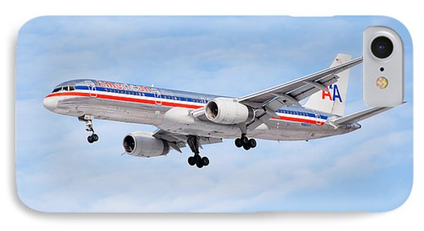 Amercian Airlines Boeing 757 Airplane Landing IPhone Case by Paul Velgos