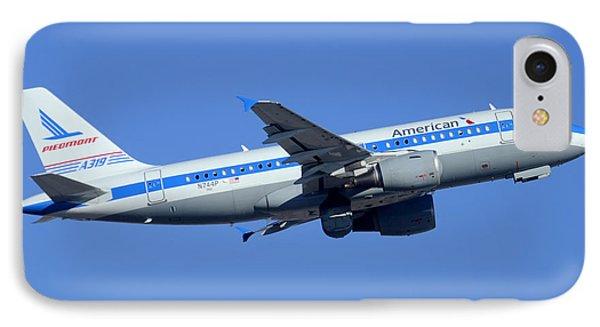 American Airbus A319-112 N744p Piedmont Pacemaker Phoenix Sky Harbor December 22 2014 Phone Case by Brian Lockett