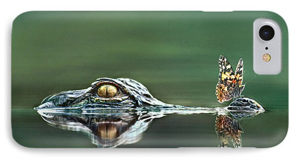 American Alligator And Butterfly IPhone Case by Tim Fitzharris