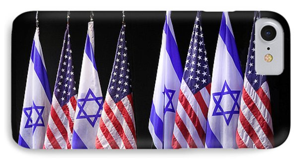American And Israeli Flags  IPhone Case by Lilach Weiss