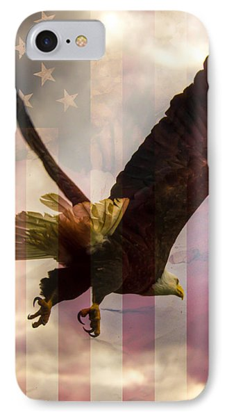 American Bald Eagle In Flight Wtih Flag IPhone Case by Natasha Bishop