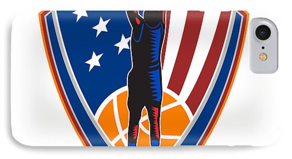 American Basketball Player Dunk Ball Shield Retro IPhone Case by Aloysius Patrimonio
