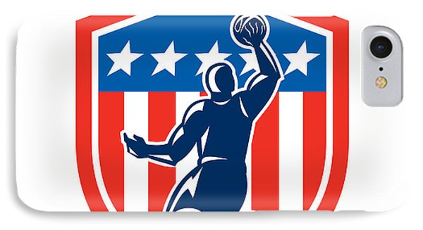 American Basketball Player Dunk Rear Shield Retro IPhone Case by Aloysius Patrimonio