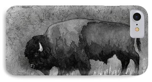 Bison iPhone 7 Case - Monochrome American Buffalo 3  by Hailey E Herrera