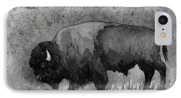 Monochrome American Buffalo 3  IPhone 7 Case by Hailey E Herrera