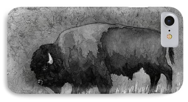 Monochrome American Buffalo 3  IPhone Case by Hailey E Herrera