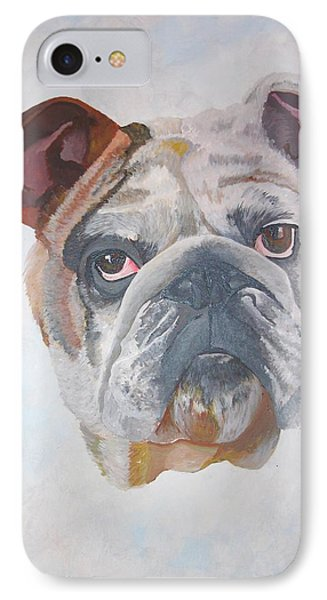 IPhone Case featuring the painting American Bulldog Pet Portrait by Tracey Harrington-Simpson