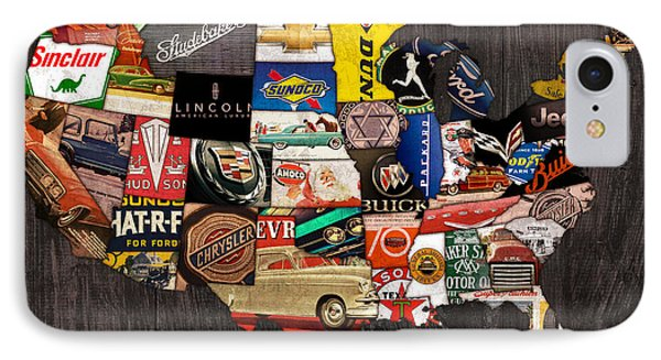 American Car State Map An Automotive History Love Affair Usa IPhone Case by Design Turnpike