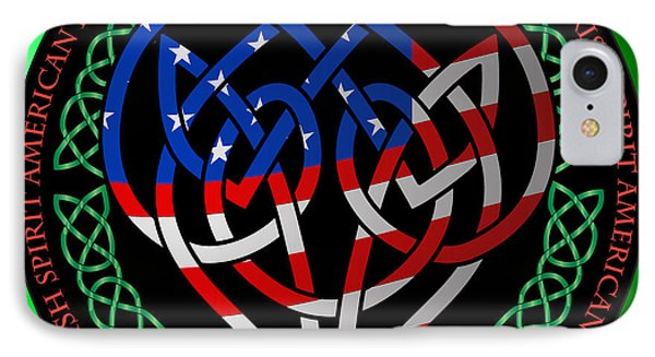 IPhone Case featuring the digital art American Celtic Heart by Ireland Calling