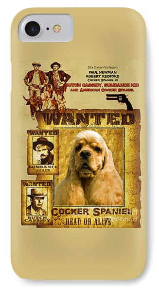 American Cocker Spaniel Art Canvas Print - Butch Cassidy And The Sundance Kid Movie Poster IPhone Case by Sandra Sij