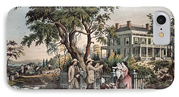 American Country Life  October Afternoon, 1855  IPhone Case by Currier and Ives