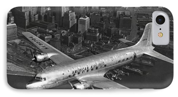 American Dc-6 Flying Over Nyc IPhone Case by Underwood Archives