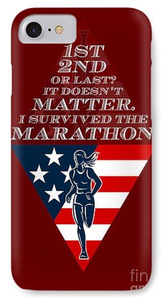 American Female Marathon Runner Retro Poster Phone Case by Aloysius Patrimonio