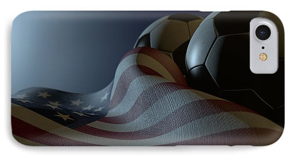 American Flag And Soccer Ball IPhone Case by Allan Swart