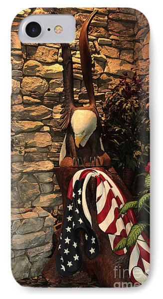 IPhone Case featuring the photograph American Flag And Eagle Wood Carving by Marjorie Imbeau