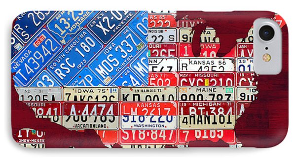 American Flag Map Of The United States In Vintage License Plates Phone Case by Design Turnpike