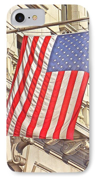 IPhone Case featuring the photograph American Flag N.y.c 1 by Joan Reese