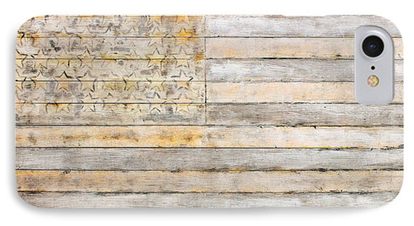 American Flag On Distressed Wood Beams White Yellow Gray And Brown Flag IPhone Case by Design Turnpike