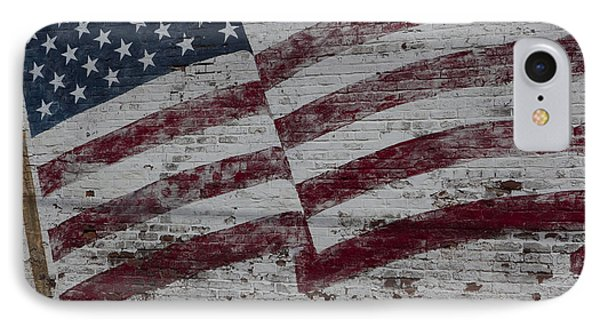 American Flag Painted On Brick Wall IPhone Case