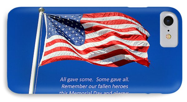IPhone Case featuring the photograph American Flag - Remember Our Fallen Heroes by Barbara West