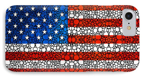American Flag - Usa Stone Rock'd Art United States Of America IPhone Case by Sharon Cummings