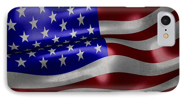 American Flag Waving On Canvas IPhone Case by Eti Reid