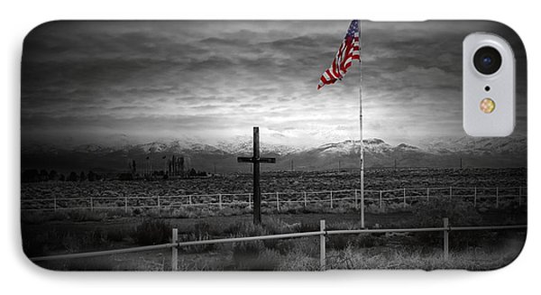 American Flag With Cross IPhone Case by Scott McGuire