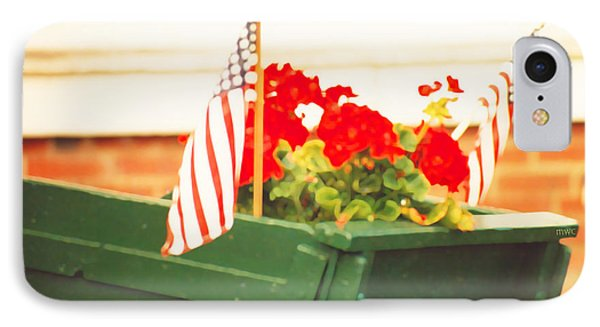 American Flags And Geraniums In A Wheelbarrow Two IPhone Case