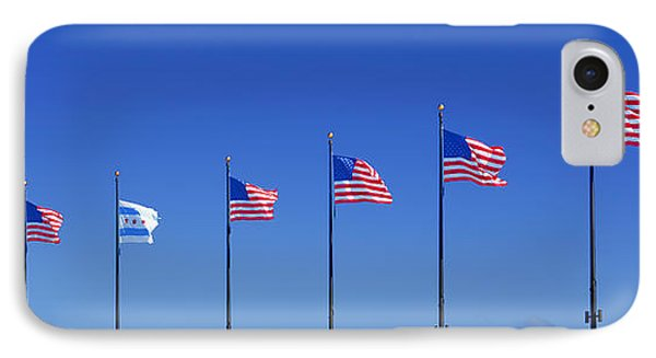 American Flags On Chicago's Famous Navy Pier IPhone Case by Christine Till