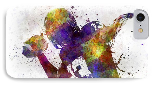 American Football Player Quarterback Passing Portrait Silhouette IPhone Case by Pablo Romero