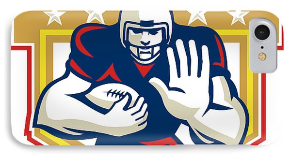 American Football Running Back Fending Shield Phone Case by Aloysius Patrimonio