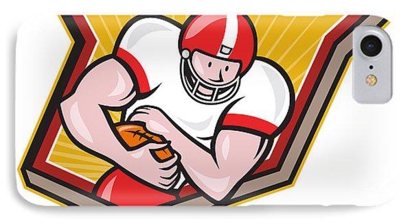 American Football Running Back Run Shield Cartoon Phone Case by Aloysius Patrimonio