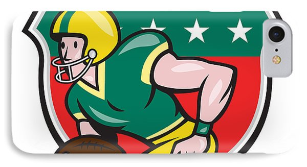 American Football Wide Receiver Running Ball Shield IPhone Case by Aloysius Patrimonio