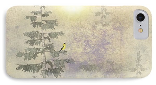 American Goldfinch Morning Mist  IPhone Case by David Dehner