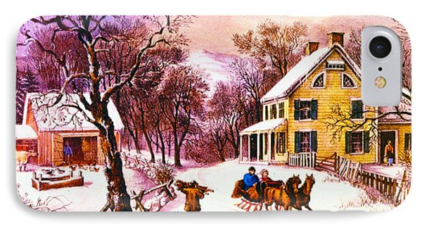 American Homestead Winter IPhone Case by Currier and Ives