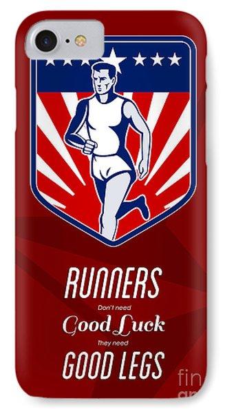 American Marathon Runner Good Legs Poster Phone Case by Aloysius Patrimonio