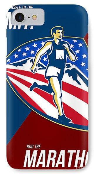American Marathon Runner Push Limits Retro Poster Phone Case by Aloysius Patrimonio
