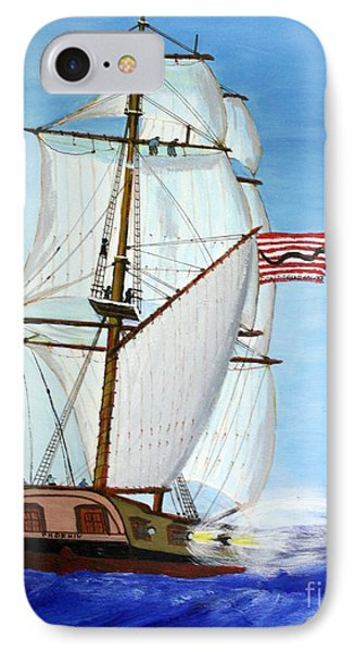 American Privateer Phoenix War Of 1812 IPhone Case by Bill Hubbard