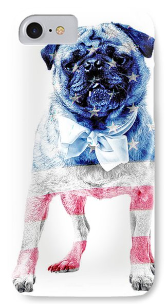 American Pug IPhone Case by Edward Fielding