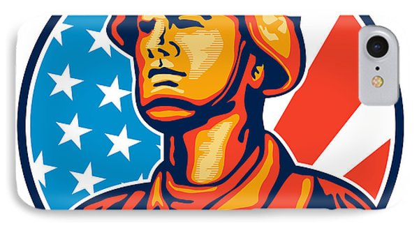 American Serviceman Soldier Flag Retro IPhone Case by Aloysius Patrimonio