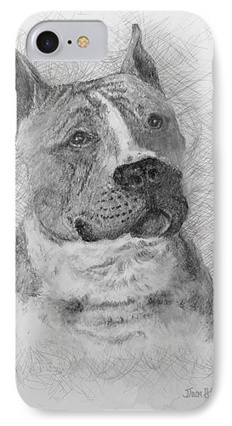IPhone Case featuring the drawing American Staffordshire Terrier by Jim Hubbard
