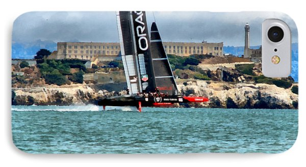 America's Cup And Alcatraz IPhone Case by Michelle Calkins