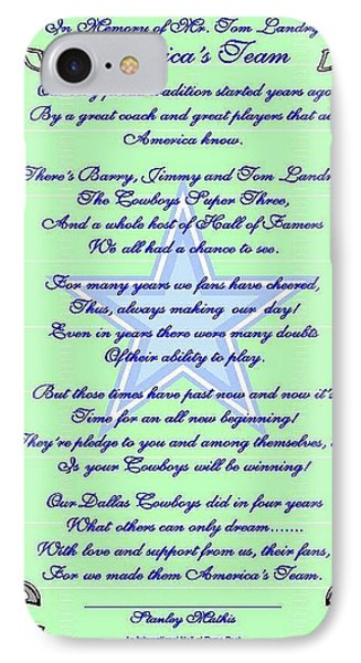 America's Team Poetry Art Poster Phone Case by Stanley Mathis