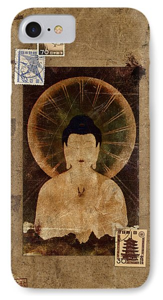 Amida Buddha Postcard Collage Phone Case by Carol Leigh