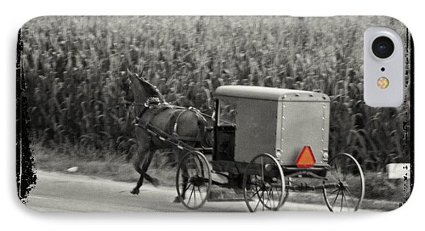 Amish Buggy Monochrome IPhone Case by Terry Weaver