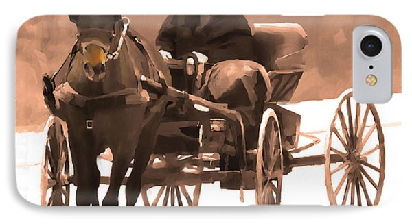 IPhone Case featuring the digital art Amish Carriage by Bob Salo