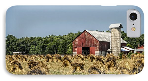 Amish Country Wheat Stacks And Barn IPhone Case by Kathy Clark