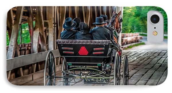 Amish Family On Covered Bridge Phone Case by Gene Sherrill