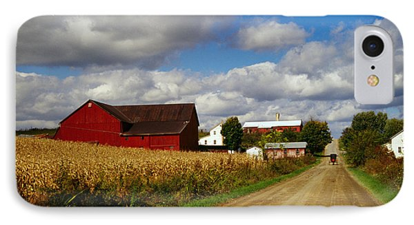 Amish Farm Buildings And Corn Field IPhone Case by Panoramic Images